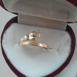 Серебряное кольцо НОЖКА с золотом