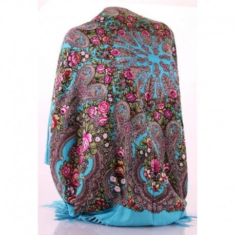 Шерстяной платок (голубой)