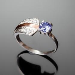 Серебряное кольцо Грация (синий)