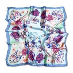 Шелковый платок 90х90 см с цветочным принтом