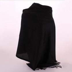 Темный кашемировый палантин с бахромой