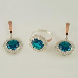 Серебряный набор украшений Тифани (голубой)