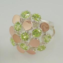 Серебряное кольцо Лорен (салатовый)