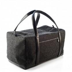 Большая войлочная сумка на молнии со вставками из КОЖИ
