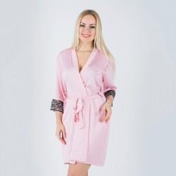 Домашний халат из шелка с красивым кружевом