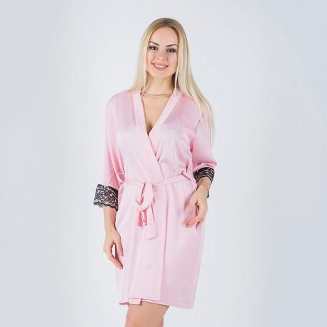 Домашний халат из шелка (розовый)
