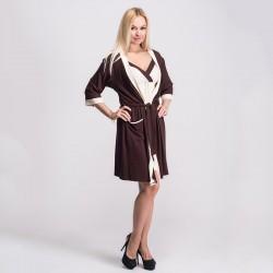 Мягкий халат из вискозы, коричневый с белым