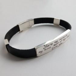 Серебряный браслет ПРИЗНАНИЕ с кожаным ремешком