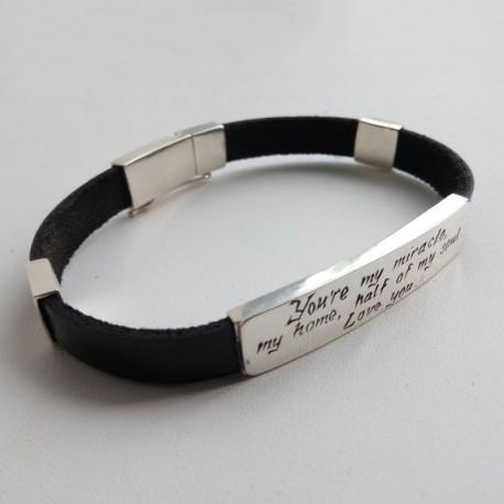 Серебряный браслет ПРИЗНАНИЕ кожаный
