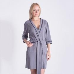 Женский халат из натурального хлопка, серый
