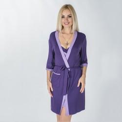 Мягкий халат из вискозы, фиолетовый с лиловым