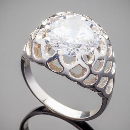 Серебряное кольцо Камалия (белый)
