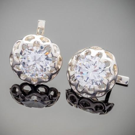Серебряные серьги Камалия (белый)
