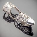 Серебряное кольцо на две фаланги и ноготь