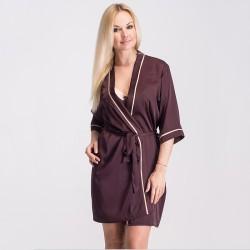 Укороченный домашний халат с контрастной отделкой