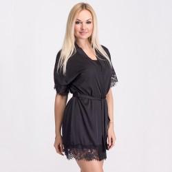Шелковый халат с кружевом, черный