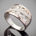 Широкое кольцо Зарина из серебра и золота