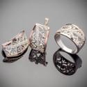 Крупные серебряные украшения Зарина из серебра и золота