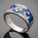 Женское серебряное кольцо с эмалью Фатима