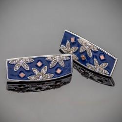 Серебряные серьги с эмалью Фатима
