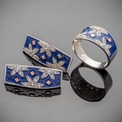 Серебро с эмалью - комплект Фатима