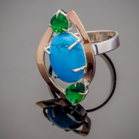 Серебряное кольцо Триада с бирюзой