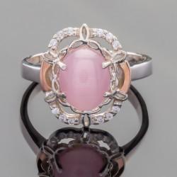 Кольцо Вероника из серебра (розовый)