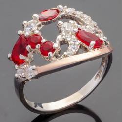 Серебряное кольцо Страсть (красный)