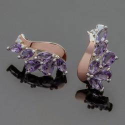 Серьги самоцветы из серебра Лаванда