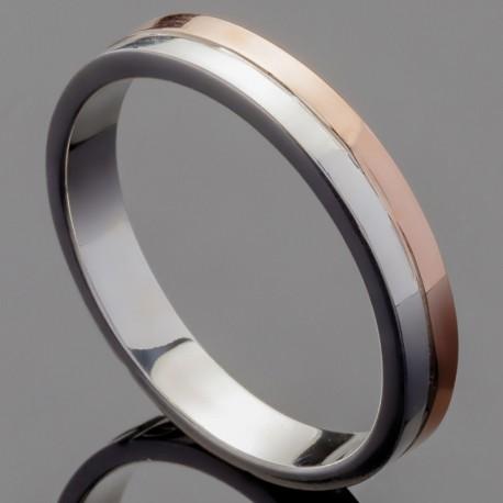 Обручальное кольцо из серебра и золота
