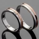 Пара свадебных колец из серебра и золота