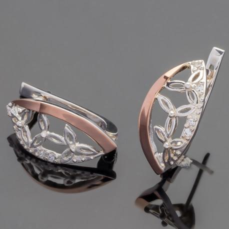 Тифа - серебряные серьги с цветами