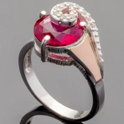 Серебряное кольцо Ричи (красный)
