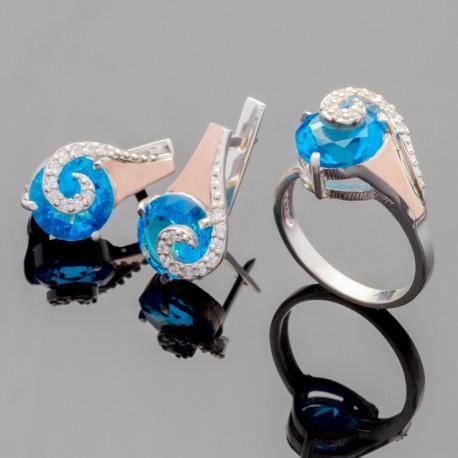 Набор Мадлен из серебра (голубой)