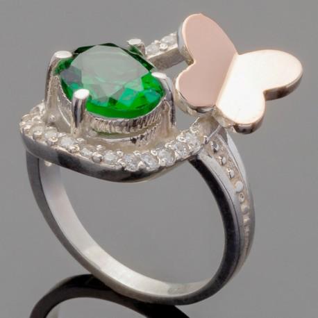 Серебряное колечко Интрига (зеленый)