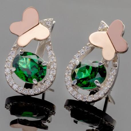 Серебряные серьги Интрига (зеленый)