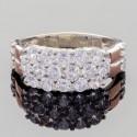 Широкое серебряное кольцо Веста со вставками из фианитов