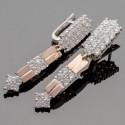 Длинные серебряные серьги Веста с фианитом
