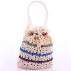 Вязаная сумка - авоська пляжная из мешковины