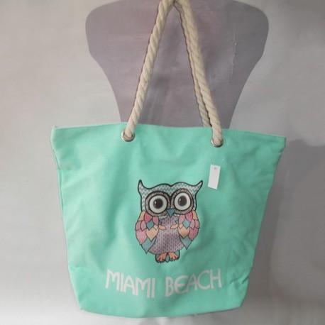 Пляжная сумка Сова (мята)