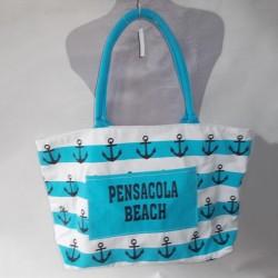 Пляжная сумка в полоску (голубая)