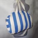 Сумка-бочёнок пляжная текстильная в полоску