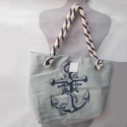 Серая сумка пляжная, канат