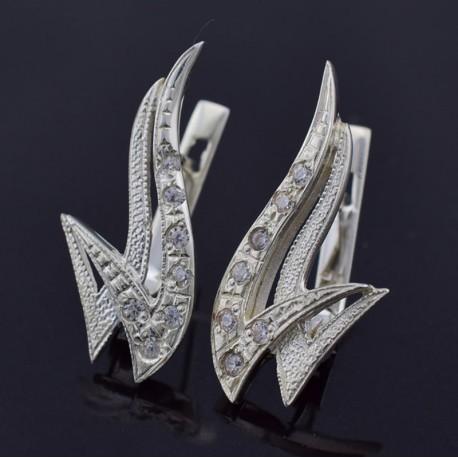 Серебряные серьги Пламя