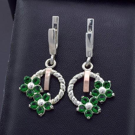 Серебряные серьги Фиалка (зеленый)