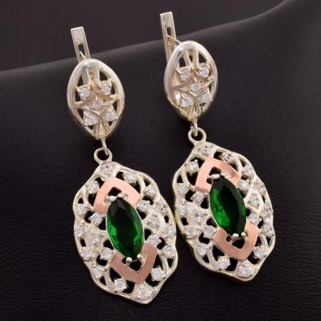 Серебряные серьги Роксолана (зеленый)