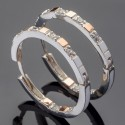 Серебряные серьги-кольца Вояж с золотом и камнями