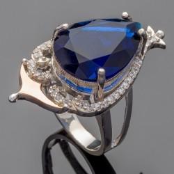 Серебряное кольцо Дара (синий)