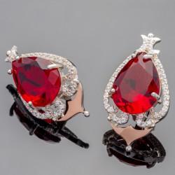 Серебряные сережки Дара (красный)