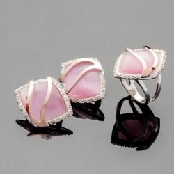 Серебряный комплект Диво (розовый)
